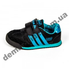 Детские кроссовки Adidas черно-синие закрытый носок