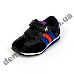 Детские кроссовки Adidas микропора черно-сине-красные