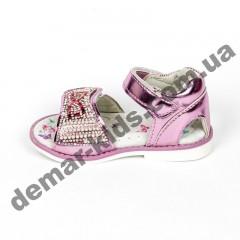 Детские голографические босоножки BBT розовые камни бантик