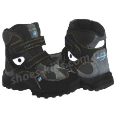 Детские кожаные термоботинки BONA 004 (черные нубук короткие)