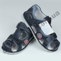 Детские ортопедические босоножки Tom.m сине-голубые закрытый носок
