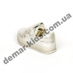 Детские кроссовки Jong Golf светло-серебряные маленькие с мигалками