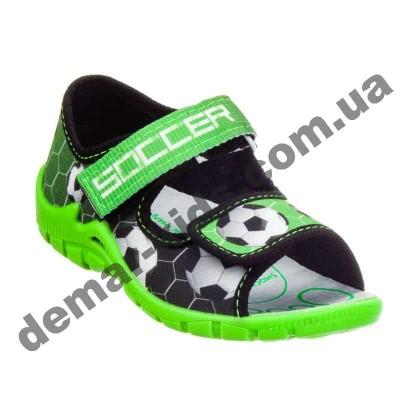 Детские босоножки-тапочки 3F Fredom For Feet Sfinks 3TR22/7 черно-зеленые футбол