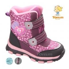 Детские термоботинки Том М розовые средние ( сердечки )
