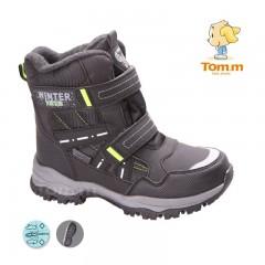 Детские термоботинки Том М черно-зеленые большие ( Winter )