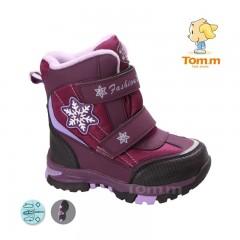 Детские термоботинки Том М бордово-розовые средние ( снежинка )