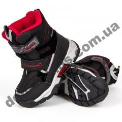 Детские термоботинки Том М C-T7887-B черно-красные средние 27-32