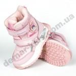 Детские термоботинки-дутики Том М C-T9527-A розовые ( с мигалками ) 23-28