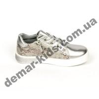 Детские кроссовки-слипоны TomM серебро с сердечками