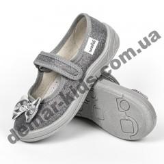 Детские тапочки Waldi блестящие темно-серебряные бантики