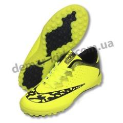 Детские футбольные сороконожки Nike зелено-черные