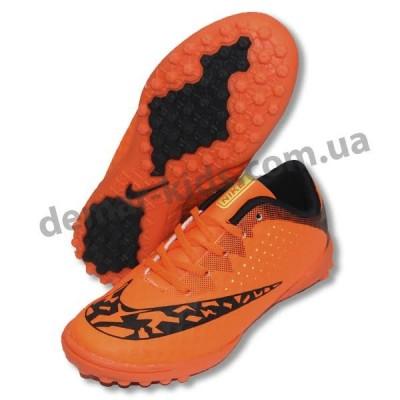Детские футбольные сороконожки Nike оранжево-черные