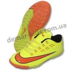 Детские футбольные сороконожки Nike Mercurial лимонно-оранжевые