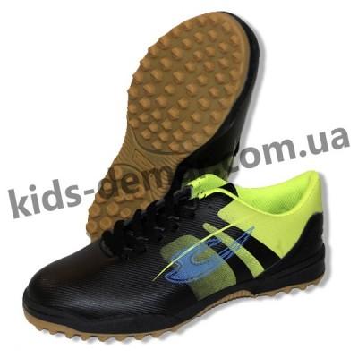 Детские сороконожки Lancast 004 черно-зеленые