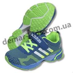 Детские кроссовки Adidas Marathon flyknit сине-зеленые-2