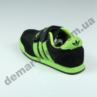 Детские кроссовки Adidas черно-зеленые ( сквозная сетка )