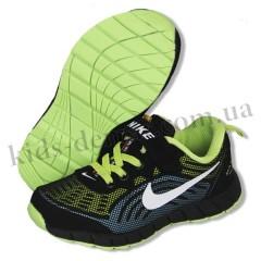 Детские кроссовки NIKE черно-зелено-голубые