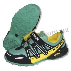 Детские кроссовки SALOMON зелено-желтые