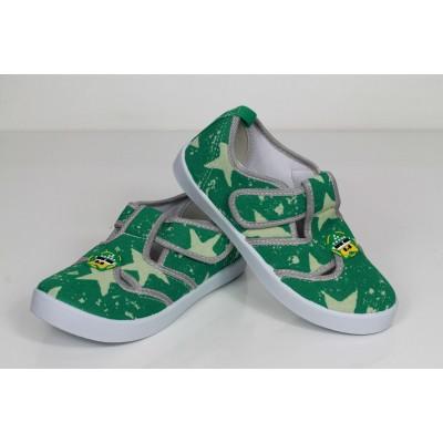 Детские мокасины SUPER GEAR зеленые звездочки